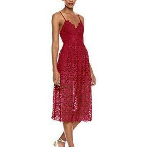 ASTR the Label Lace Overlay Midi Dress